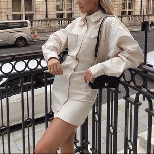 NEW Zara Short/Mini Ruched Shirt Dress in Cream XL